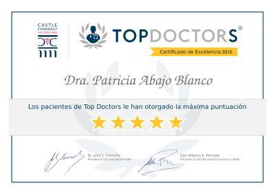 Doctora Patricia Abajo Blanco - Certificado de Excelencia Top Doctors 2016