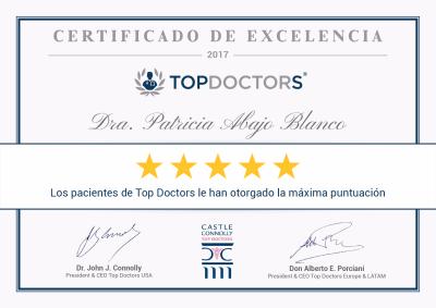 Doctora Patricia Abajo Blanco - Certificado de Excelencia Top Doctors 2017